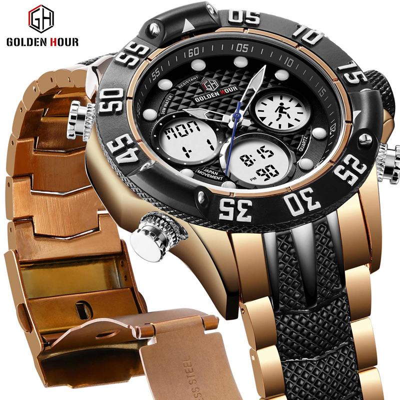 цена GOLDENHOUR Top Brand Men Military Sport Watches Mens LED Analog Digital Watch Male Army Stainless Quartz Clock Relogio Masculino