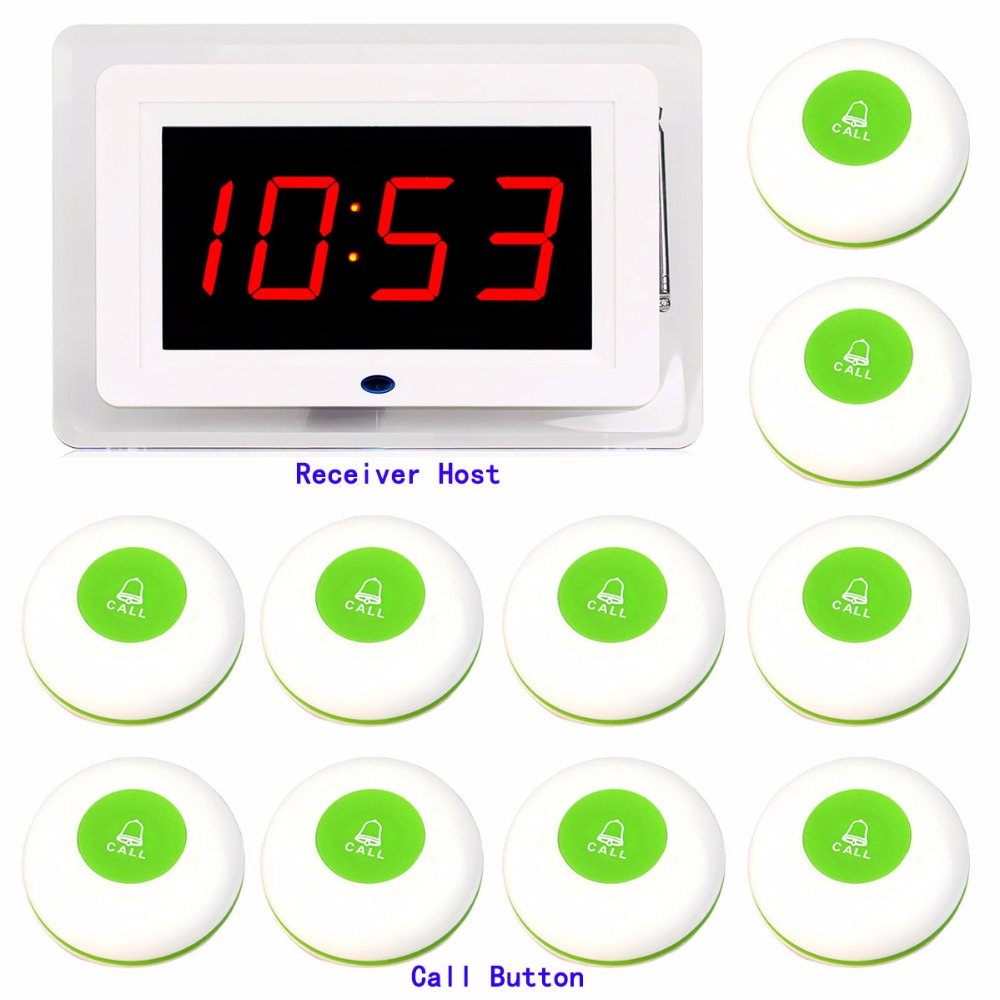 Restaurant Waiter Calling Paging System 433MHz Wireless Guest Call Bell Pagers Cafe Office Hospital With Voice Broadcast F3253G wireless call system vibrating watch pagers call button restaurant bell 433 92mhz restaurant full set 1 watch 10 call button