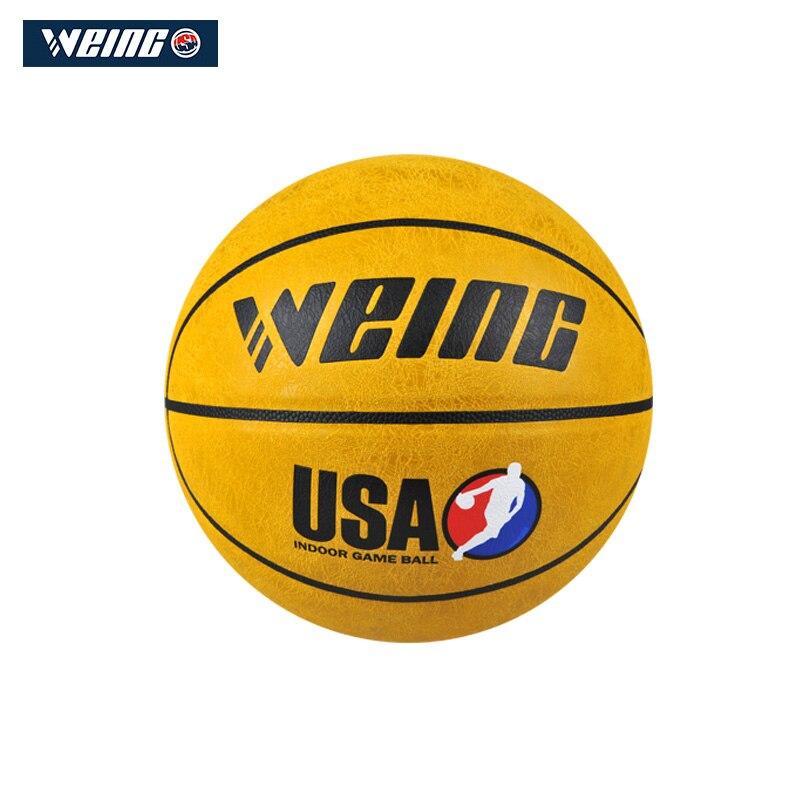 WEING marque pas cher WB421 modèle basket-ball, imitation cuir matériel officiel taille 7 basket-ball gratuit sac en maille + aiguille