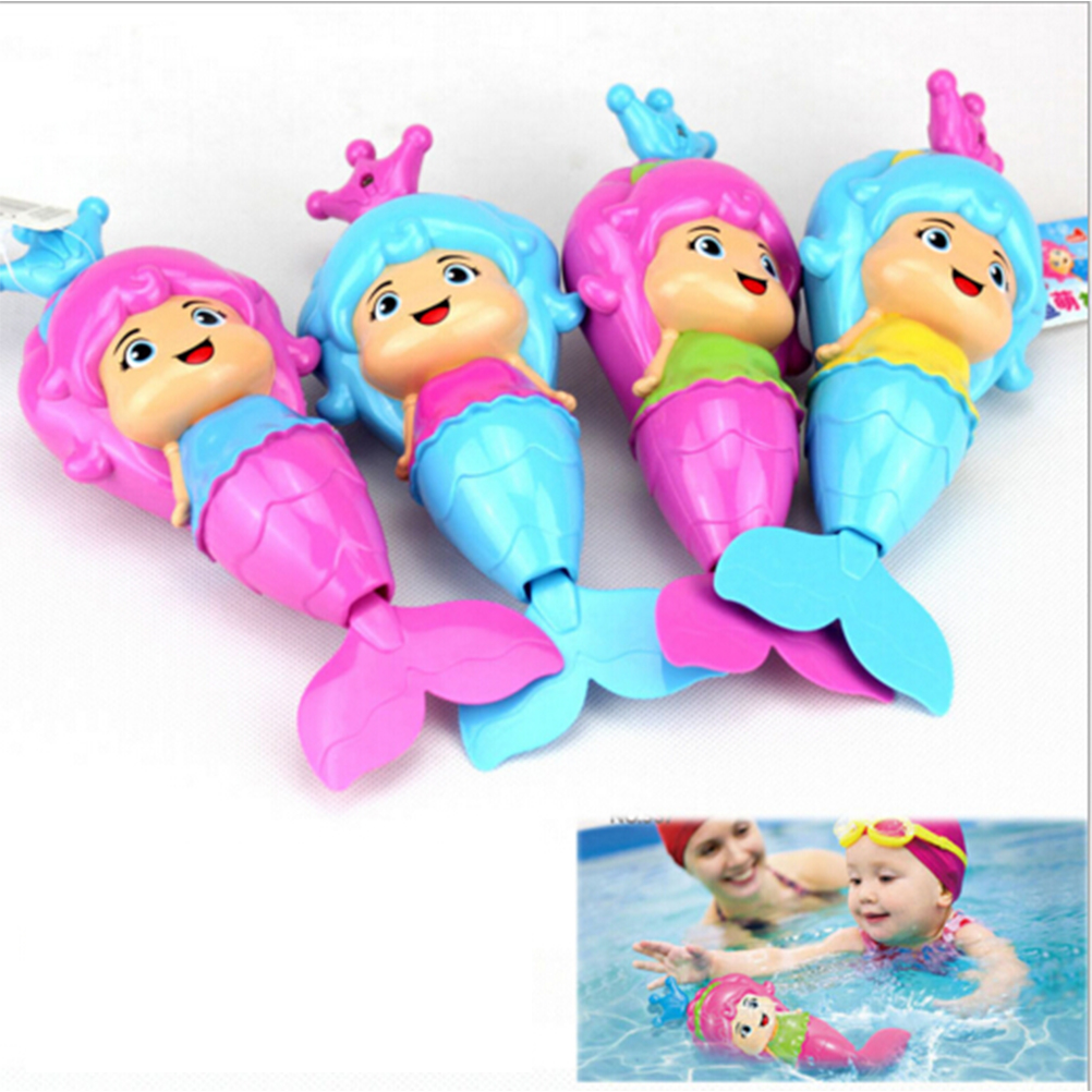 1 Pcs Baby Bath Toy Cute Mermaid Clockwork Dabbling Floating Swimming Wound Up Water Play Cartoon Educationa Learning Bath Toys