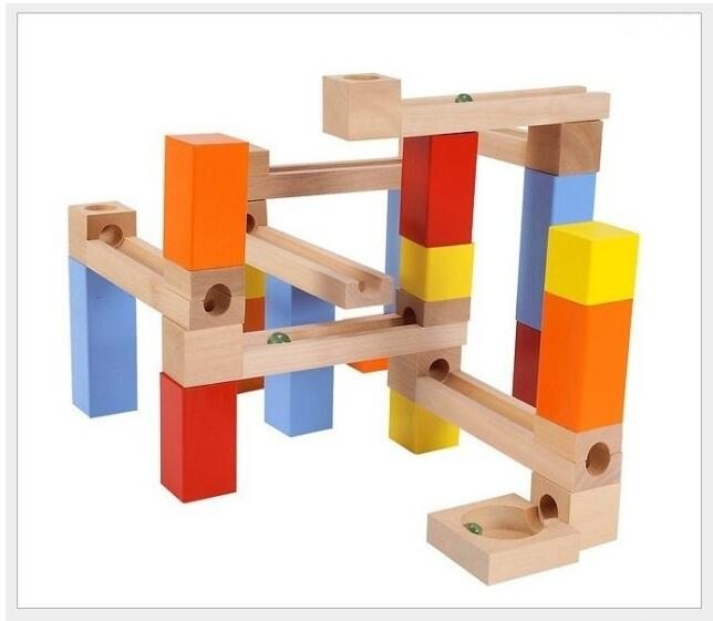 Wooden 33pcs/set Colorful Pipeline Type Puzzles Maze Learning Education Blocks For Kids IQ Trainer Game For Children Marble 3d magical coin intellect maze ball kids amazing balance logic ability toys educational iq trainer game for kids chirstmas gifts