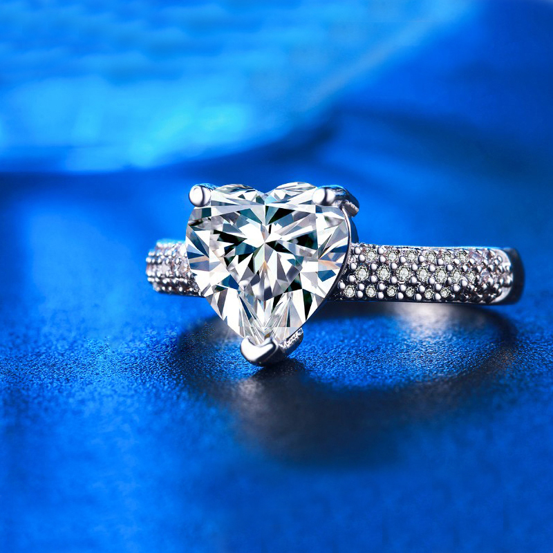 stor hjärta sten 3 karat kristall smycken förlovning vigselringar - Märkessmycken - Foto 5