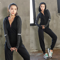 Plus Size Sport Wear Women long sleeves hooded+Wide Waist Pant Gym Sport Runing Girl Yoga Exercise Tight Bodybuilding L 4XL