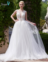 Dressv Open Back Scoop Neck Appliques Wedding Dress A Line Court Train White Elegant And Fashion