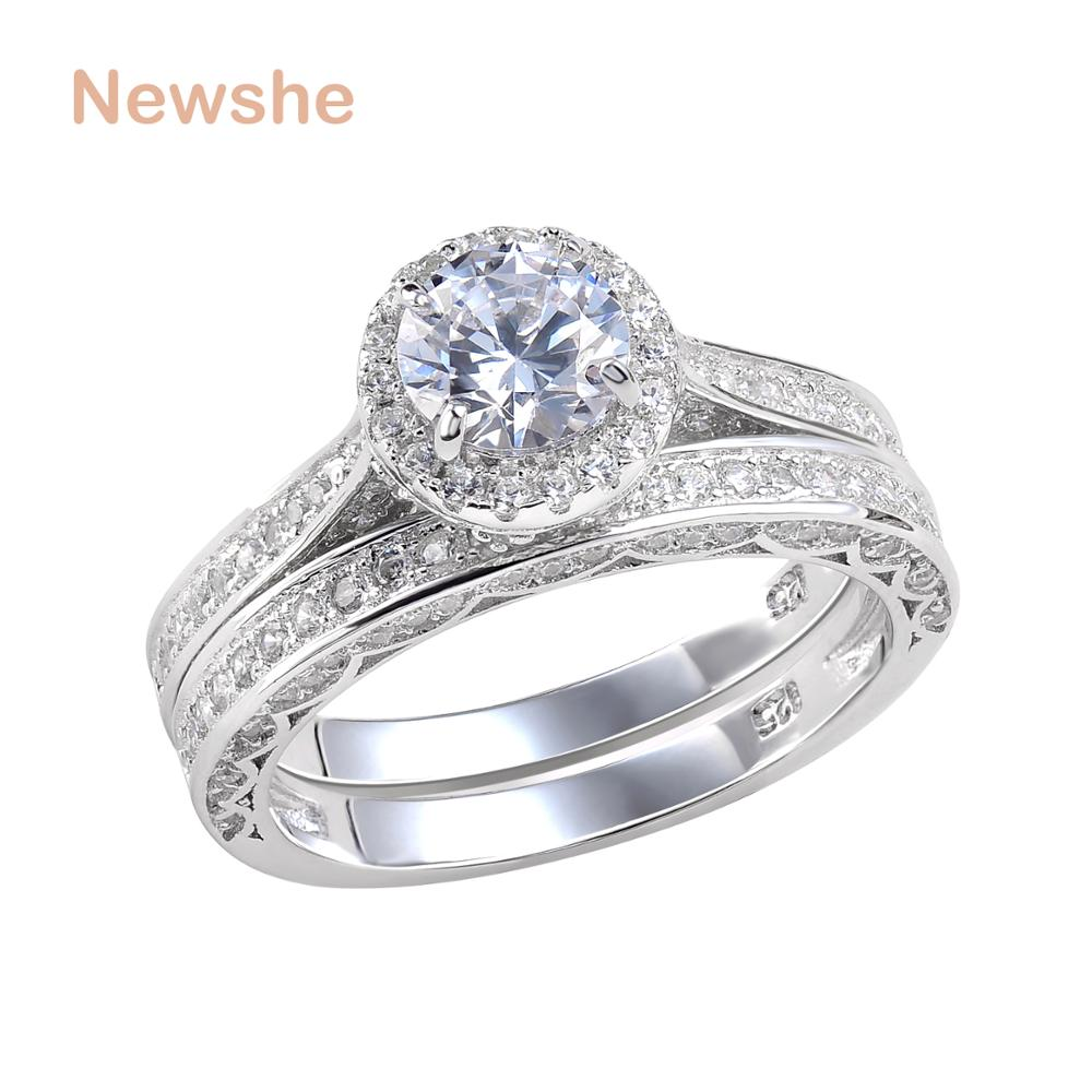 Newshe Solid 925 Sterling Silver Wedding Ring Set Engagement Band 2 4 Ct Round Cut AAA