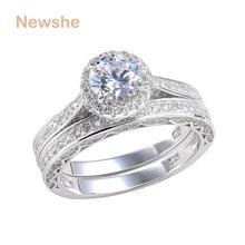 Newshe одноцветное 925 серебро обручальное кольцо набор Обручение Band 2.4 ct Круглой Огранки AAA CZ классические украшения для Для женщин