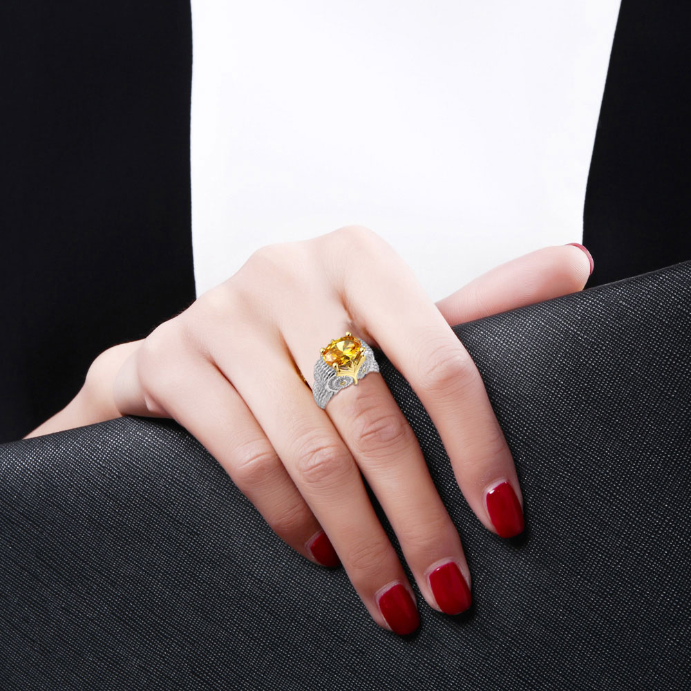Standard 925 Silver Owl Ring Jewelry Shop designed a unique yellow Cubic Zircon classic fashion dance gift for young women in Rings from Jewelry Accessories