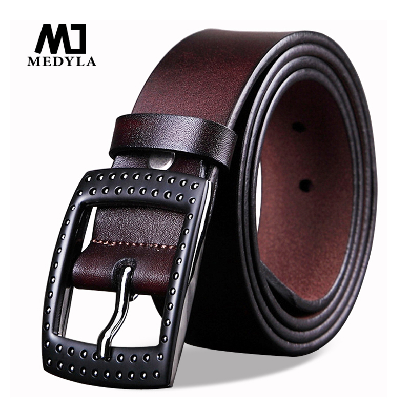 MEDYLA top Leather strap Men High Quality Designer Belts For Men's Casual Genuine Leather Waistband Pin Buckle Ceinture Homme