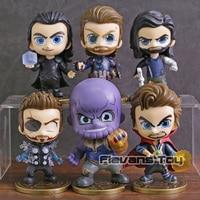 Avengers Infinity War Thanos Thor Loki Captain America Doctor Strange Bucky Barnes Q Version PVC Figures Toys 6pcs/set
