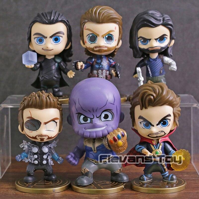 Avengers infinito guerra Thanos Thor Loki Capitán América Doctor Strange Bucky Barnes Q versión PVC figuras juguetes 6 unids/set