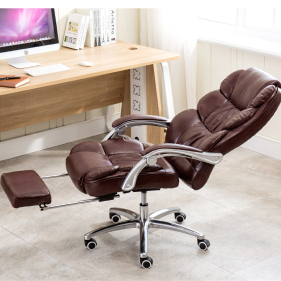 High Quality Executive Chair Reclining Seat Soft PU Lifting Office Chair Footrest Super Soft Leisure 170 Degree Lying Boss Chair 240340 high quality back pillow office chair 3d handrail function computer household ergonomic chair 360 degree rotating seat