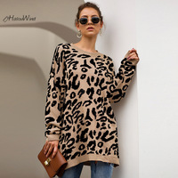 2019 Autumn Leopard Print Pullover Long Sweater for Women Loose Knitting Pull Femme Jumper Knitted Sweater Ropa Mujer Invierno