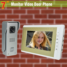 Luxury Gold 7 Inch Monitor Video Door Phone Intercom Doorbell System Video doorphone visual Doorbell Aluminium alloy Camera