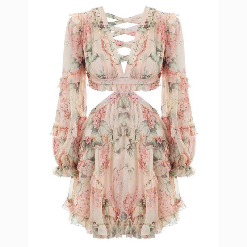 2018 Новое поступление женское мини-платье с v-образным вырезом соблазнительное длинное с открытой спинкой рукав цветочный принт платье
