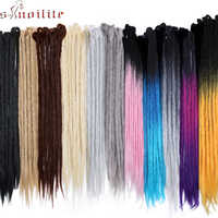 """S-noilite 20 """"24"""" fait à la main Dreadlocks Extensions de cheveux la redoute synthétique Crochet tresses de cheveux Ombre couleur tressage cheveux rouge rose"""