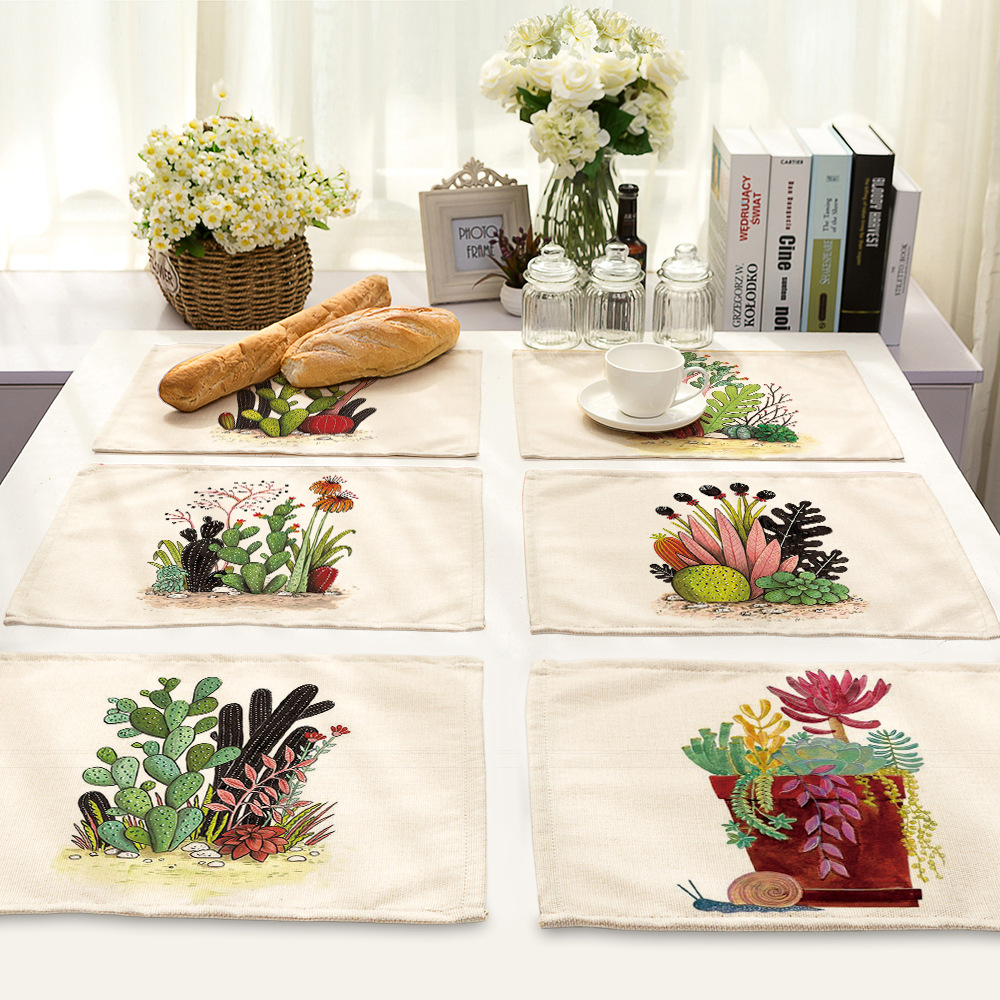 CAMMITEVER Cactus Floral Dinner Mat Dining Table Placemat Tableware Pad Coffee Tea Place Mat Europe Style Kitchen Tool Dropship