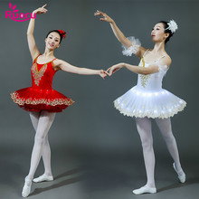 Ruoru White LED light ballet tutu adults kids child women professional swan lake girls dress ballerina party