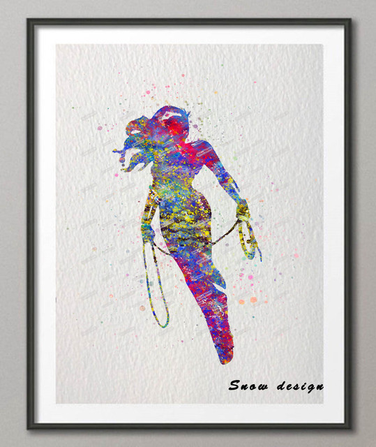 original watercolor wonder woman canvas painting wall art poster