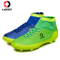 Leoci Soccer Shoes Sport Football Shoes 2017 Men Soccer Shoes Boys Kids Soccer Cleats F High Ankle Football Shoes Soccer Boots