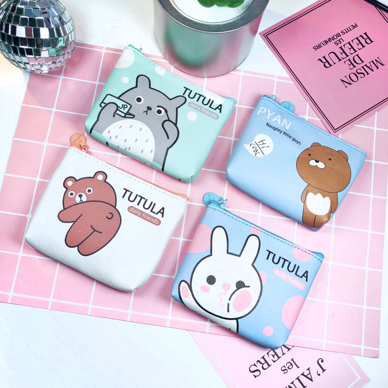 PACGOTH 2018 Japanese and Korean Style PU Leather Coin Purses Mini Animal Prints Bear Rabbit Flamingo Key Coin Card Pockets 1 PC женские брюки other japanese and korean brands
