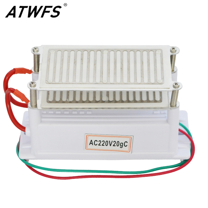 ATWFS New 20g Ozone Generator 220v Air Purifier Ozonizer Sterilizer Stainless Steel Electrode Damp Proof Long