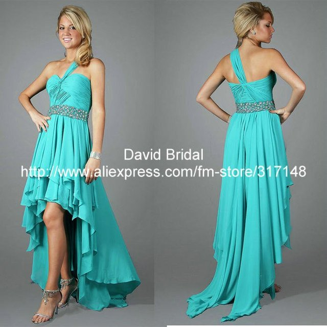 b2f2fd53d3 US $134.0 |Free Shipping DA223 Beaded Turquoise Chiffon High Low Prom Dress  One Shoulder-in Prom Dresses from Weddings & Events on Aliexpress.com | ...