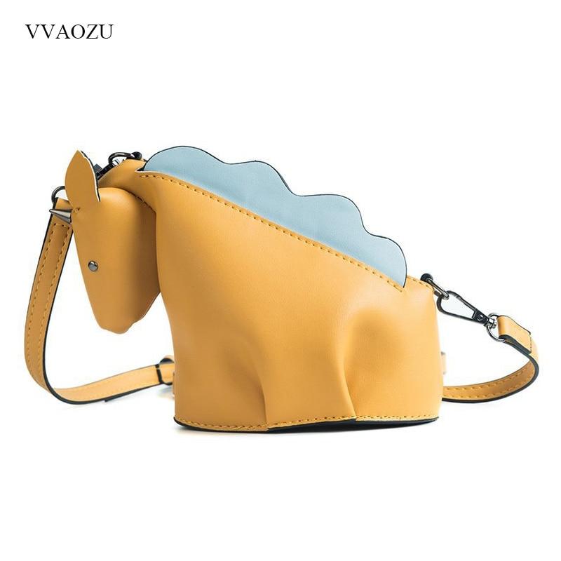 Hot Sale Cartoon 3D Unicorn Shaped Women Crossbody Bag Cute Personality Creative Animal Rivet Handbag Small Female Messenger Bag cylinder shaped rivet crossbody bag