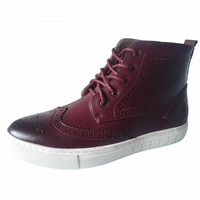Mens Casual Breathable Party Nightclub Dress Genuine Leather Bullock Shoes Carving Brogue Flats Platform Shoe Ankle