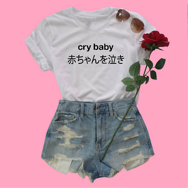 69086fee Crybaby Japanese T Shirt babygirl harajuku tshirt grunge aesthetic tee 90s fashion  women goth tops broken dreams club t shirt-in T-Shirts from Women's ...