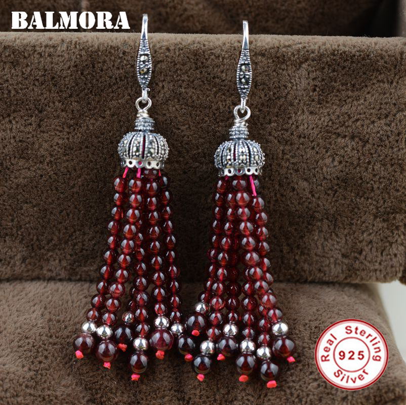 BALMORA 925 Sterling Silver Red Garnet Tassel Dangle Earrings for Women Mother Gift Ethnic Earrings Jewelry Brincos HSJ30179