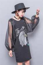 Fashion embroidery loose medium-long patchwork sexy perspective organza puff sleeve one-piece dress female