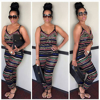 Summer Fashion Camis Style Long Sexy Neck Off Shoulder High Waisted Women Rompers boho jumpsuit