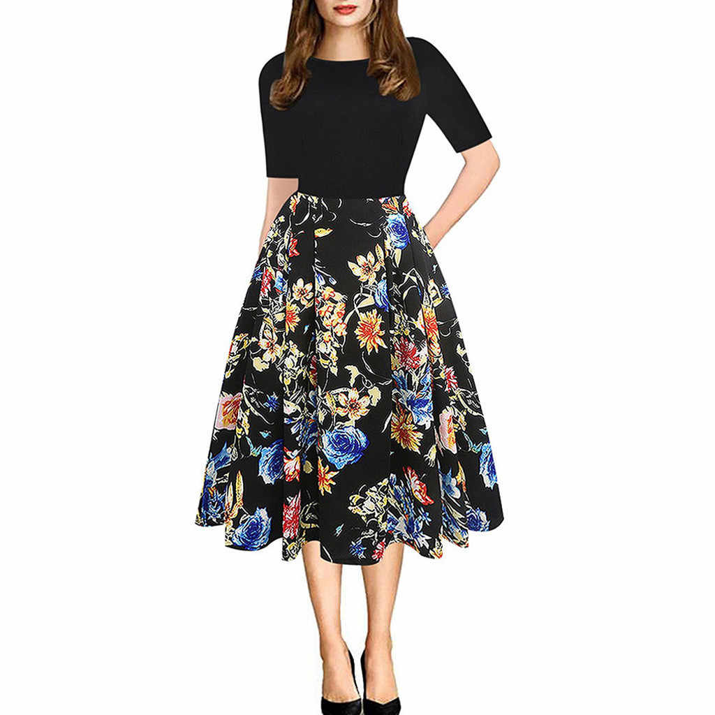 Women Casual Elegent A-line Dresses Short Sleeve O Neck Vintage Floral Print Patchwork Sundress High Waist Draped Vestidos Femme