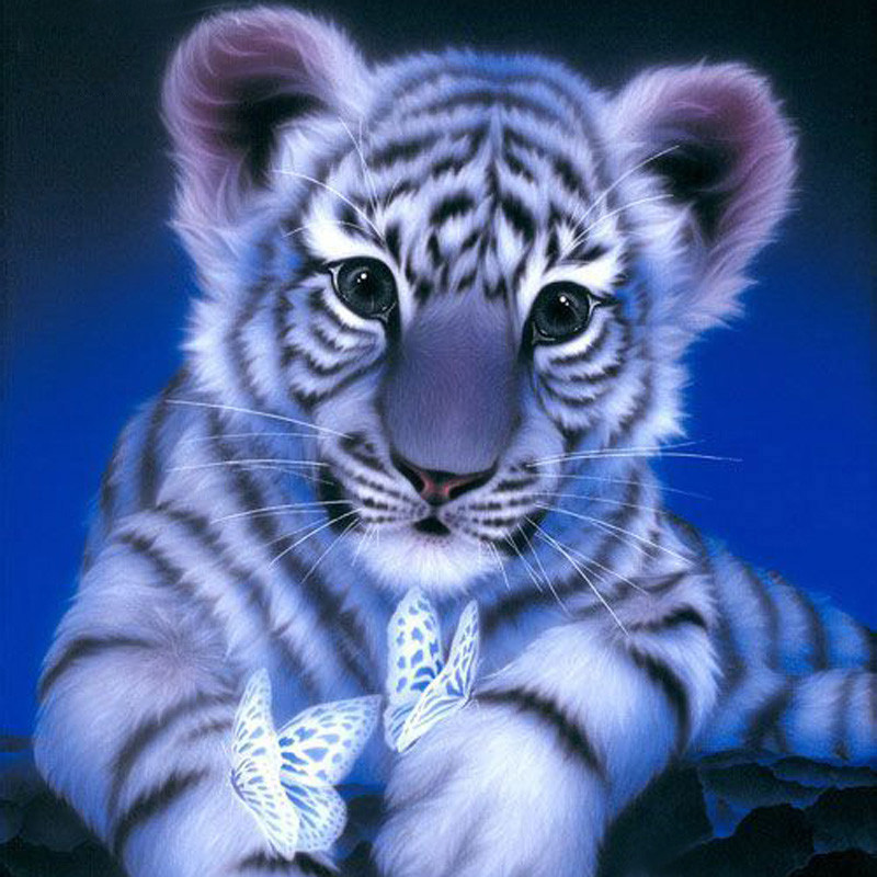Diamond Embroidery Tiger 5D Diy Diamond gleznošana Full Dill Square Diamond mozaīkas dzīvnieki Home Decoration Paintings KJ217