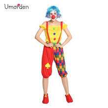 Umorden Purim Carnival Halloween Party Circus Clown Costumes Women Adult Cosplay Costume Set for Woman Suspender