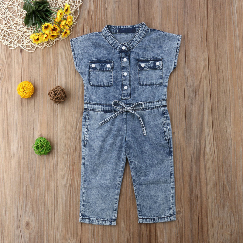 Summer Sleeveless Round Neck Pocket Denim Shirt Rompers Playsuit Girls Clothing Outfits Toddler Kids Baby Girl Romper pocket