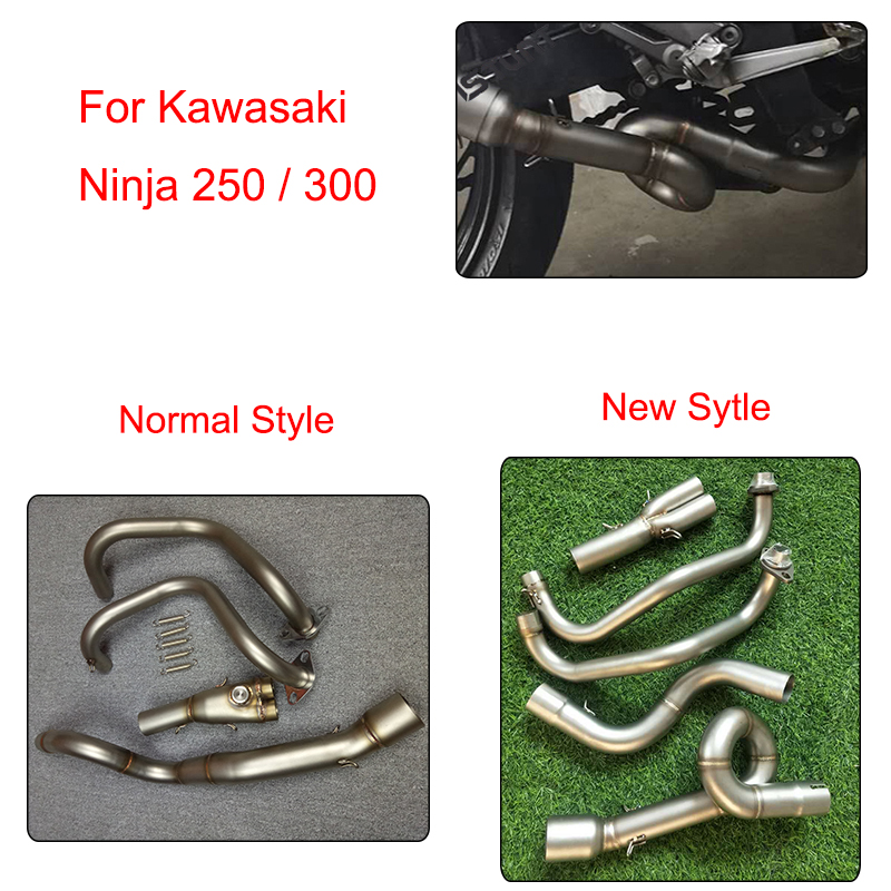 MTCLUB For Kawasaki Ninja 250 300 Z300 Z250 250R Motorcycle Modified Muffler Exhaust Contact Mid Link Pipe 304 Stainless Steel 8 color motorcycle adjustment folding brake clutch levers set new for kawasaki ninja 300r ninja 250r z125 z250 z300