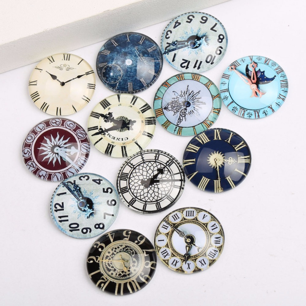 купить onwear mix vintage clock photo glass cabochon 12mm 20mm 25mm round dome cameo jewelry findings for pendant earrings