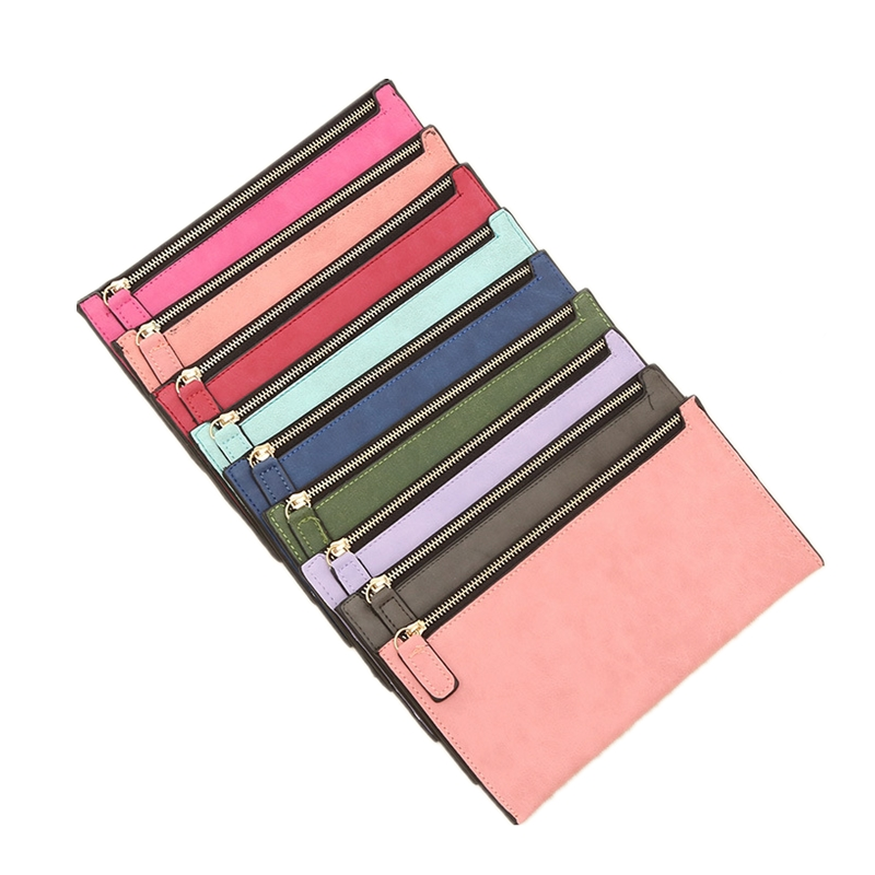 2018 New Simple Designer Zipper Women Soft Pu Leather Slim Wallet Purse Clutch Thin Wristlet Phone Coin Credit Card Holder Bags