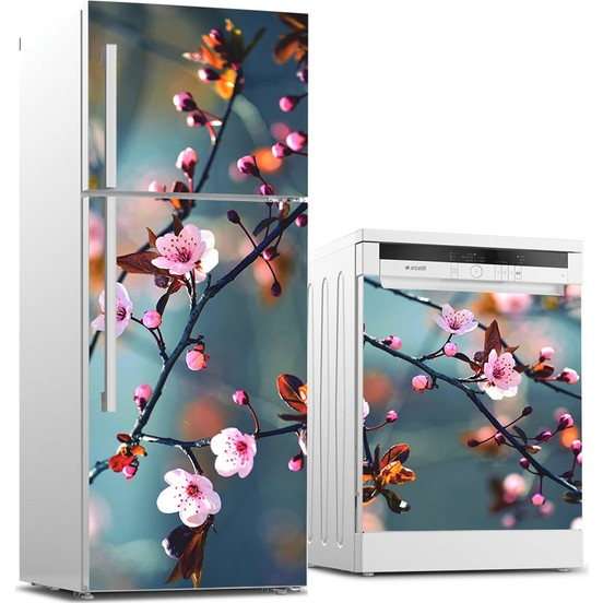 Smart 3d Fridge Sticker Plum Blossom Refrigerator Dishwasher Door Cover Kitchen Home Decoration Accessories Wall Stickers Home & Garden