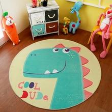 Infant Shining Babyspielmatte Puzzle Kinderzimmer Cartoon Runde Teppich Schlafzimmer Schöne Dinosaurier Krabbeln Teppich Maschine Waschbar