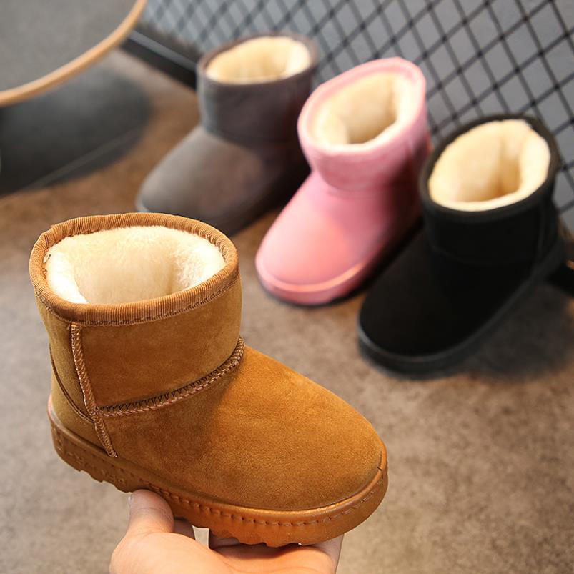 99af7c3eb39b HaoChengJiaDe Kinder Stiefel Dicke Warme Schuhe Baumwolle Wildleder Mode  Weiche Jungen Mädchen Schnee Stiefel kinder Wasserdichte