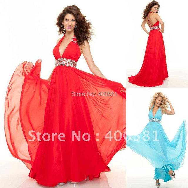 Awesome Plunging Halter Neckline Empire Long Skirt Flowy Red Blue