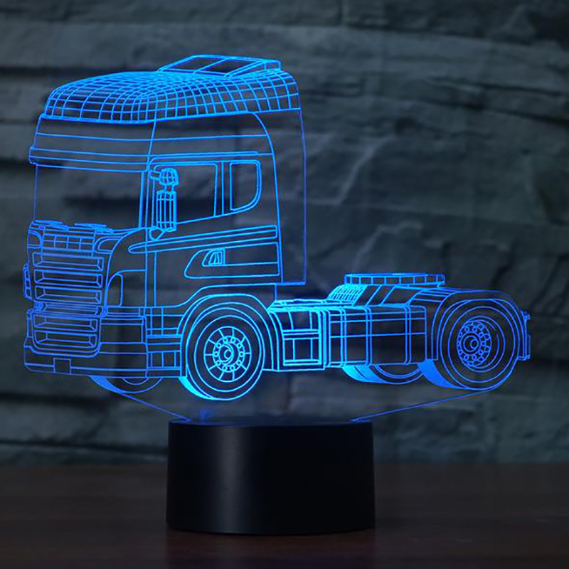 3D LED Heavy Truck Shape Night Light USB 7 Colors Mood Desk Lamp Touch Button Kids Bedroom Christmas Sleep Lighting Home Decor
