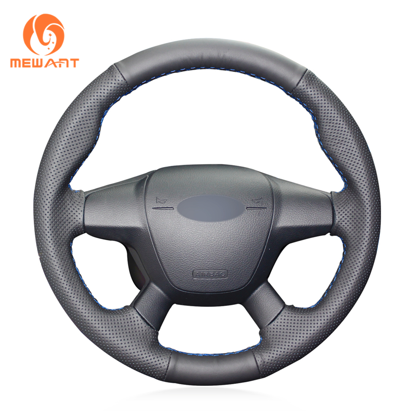 MEWANT Black Genuine Leather Car Steering Wheel Cover for Ford Focus 3 2012 2014 KUGA Escape