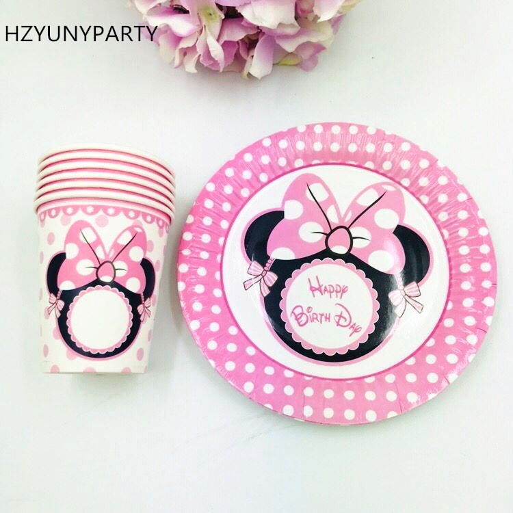 Mickey Minnie cartoon mouse Decorative paper cup+7inch paper plate tableware for birthday,party cup*20pcs+plate*20pcs