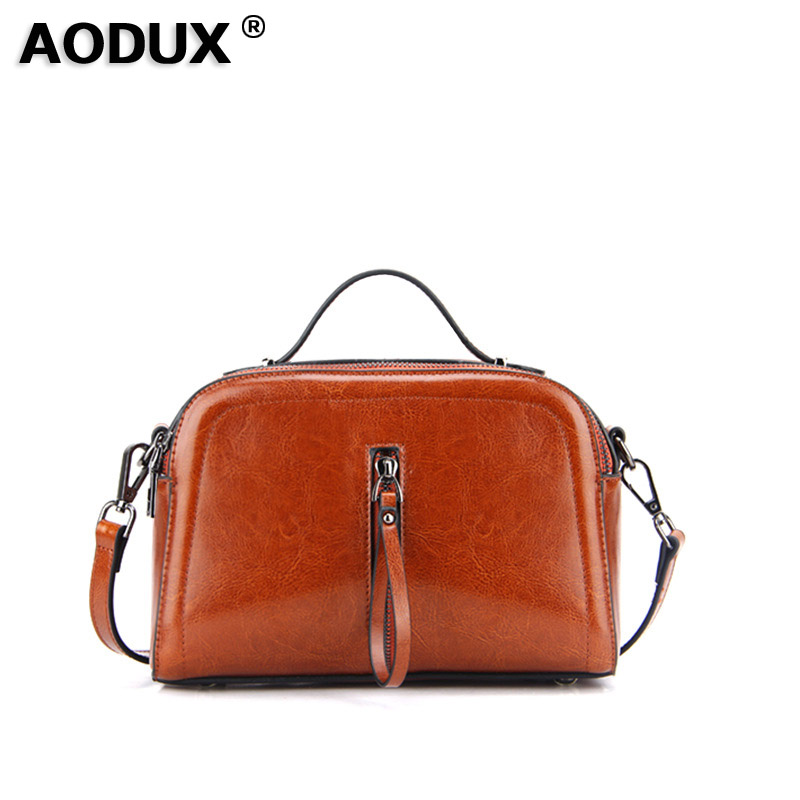 AODUX Genuine Leather Oil Wax Cow Leather Fashion Famous Brand Women Tote Shopping Bags Female Shoulder Messenger Bag aodux 2018 new famous brand women tote shopping bags female genuine leather woman second layer cow leather shoulder shopping bag