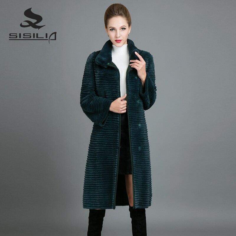 SISILIA Personalizzabile Rex Rabbit Fur Coats Manica Lunga Donna Inverno Cappotti di Pelliccia di Lusso della Pelliccia Del Coniglio Lungo Alla Moda Giacche Per La Femmina