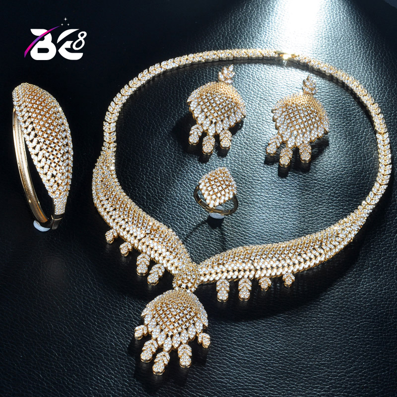 8 Luxe AAA Zircon Cubique Collier Boucle D'oreille Ensemble Or Couleur Nigérian Mariée Ensembles De Bijoux pour Les Femmes De Mariage JewelryS235