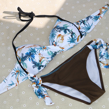 sexy vintage brand sale solid print floral halter 2XL push up girl women bikini set patchwork wire free women swimwear swimsuit